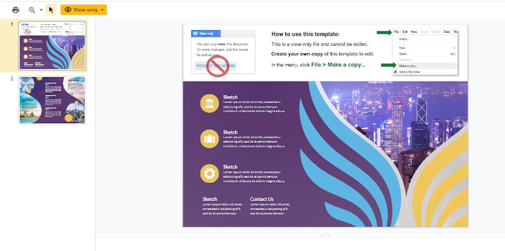 Google Doc Templates - Purple Trifold Brochure