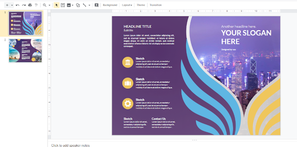 Google Docs Templates - Purple Trifold Brochure