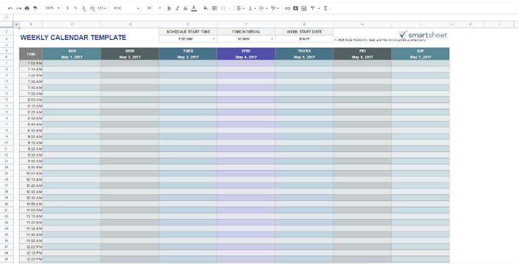 Google Docs Templates - Weekly Calendar
