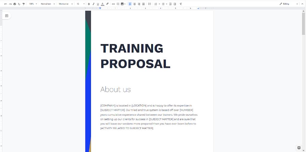 Google Docs Templaes - Training Proposal