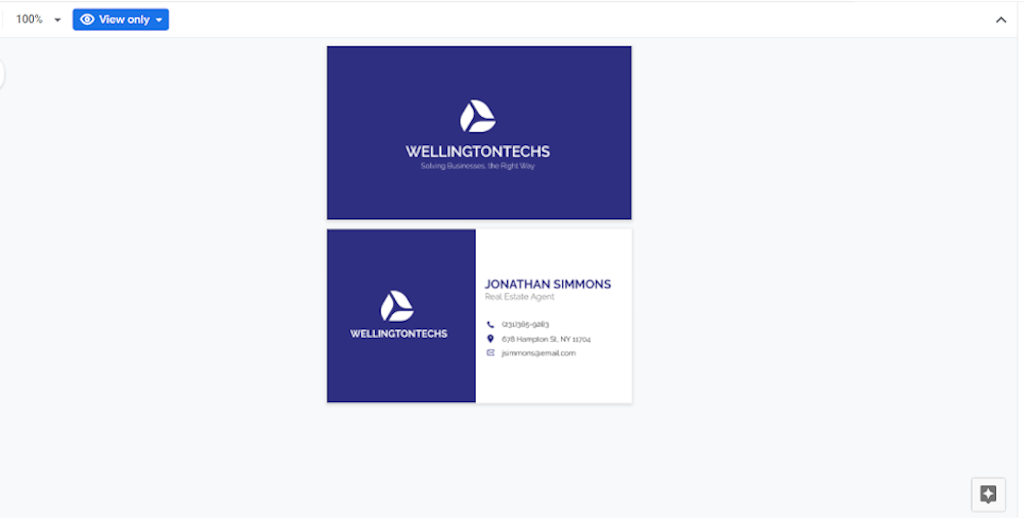 Google Docs Templates - Corporate Business Card