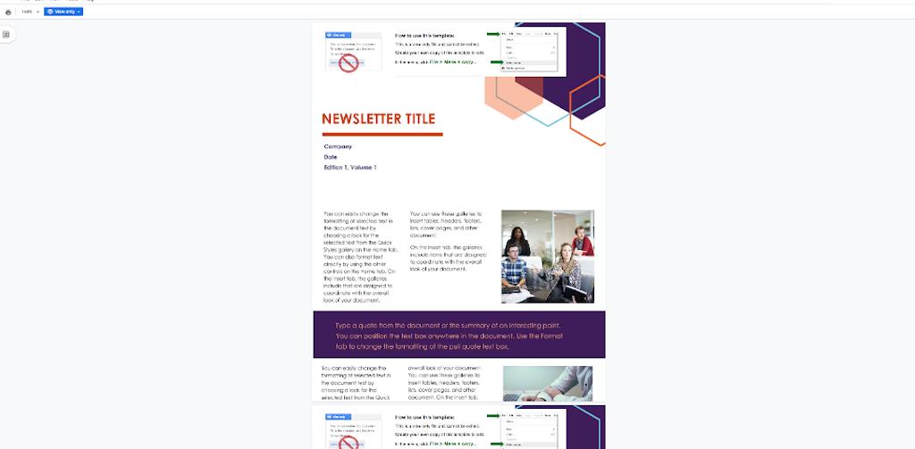 Google Docs Template - Newsletter template