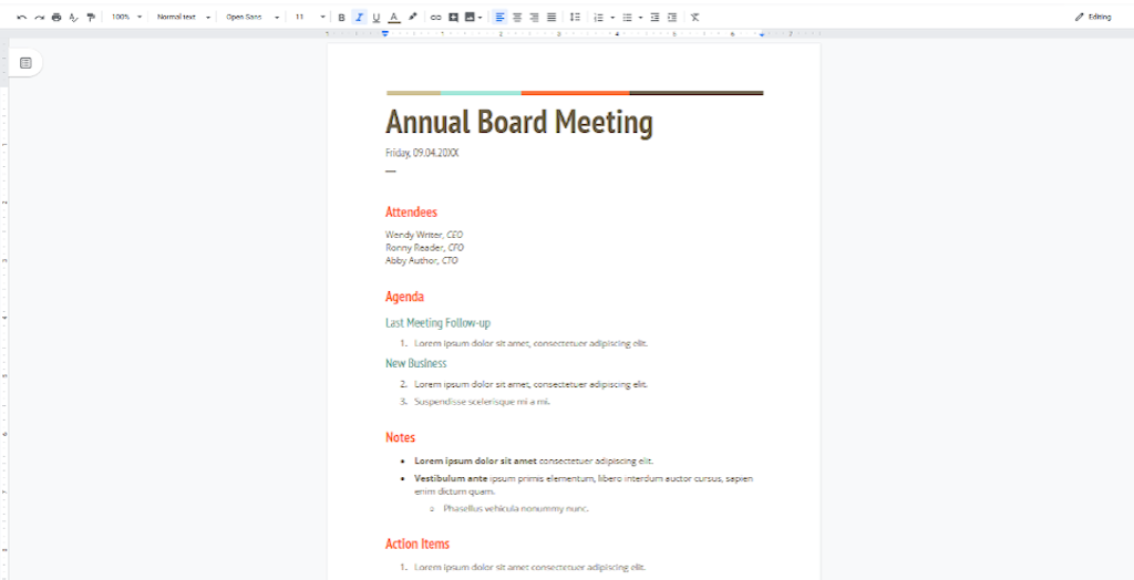 Google Docs Templates - Annual Board Meeting