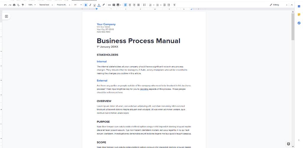 Google Docs Templates - Business Process Manual