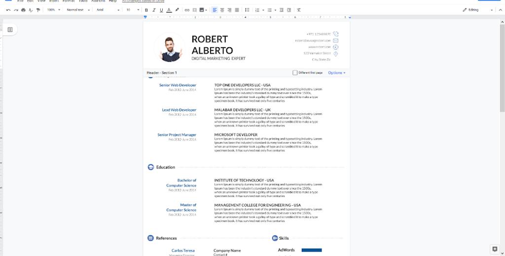 Google Docs Templates - White blue resume