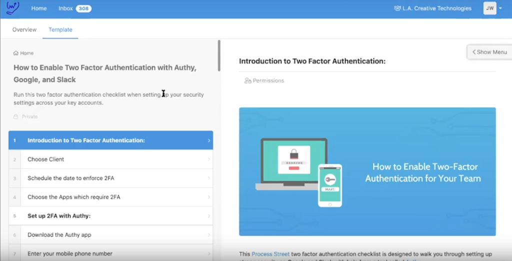 LA Creative - Enable two -factor authentication