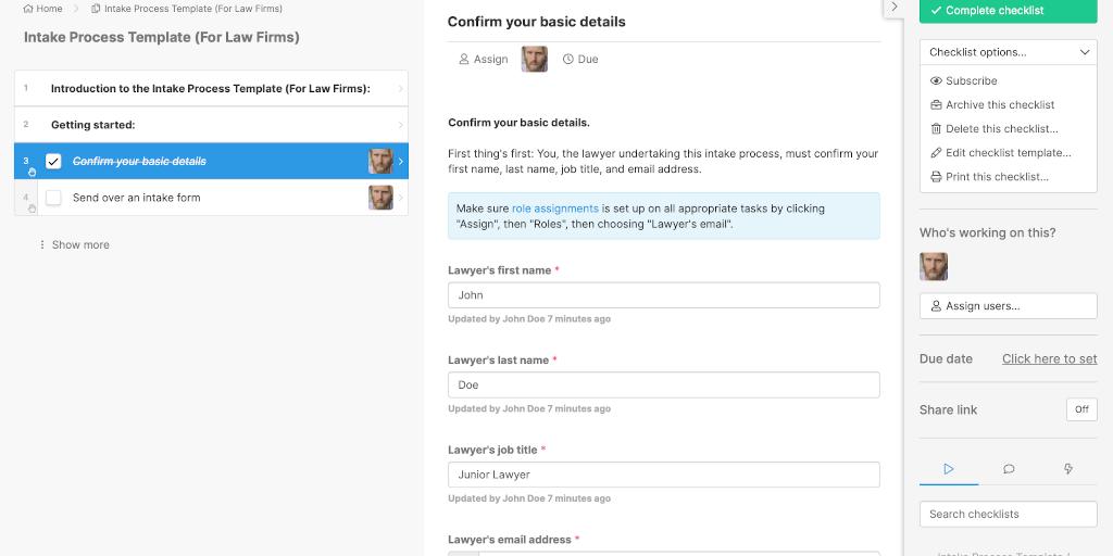 intake process screenshot