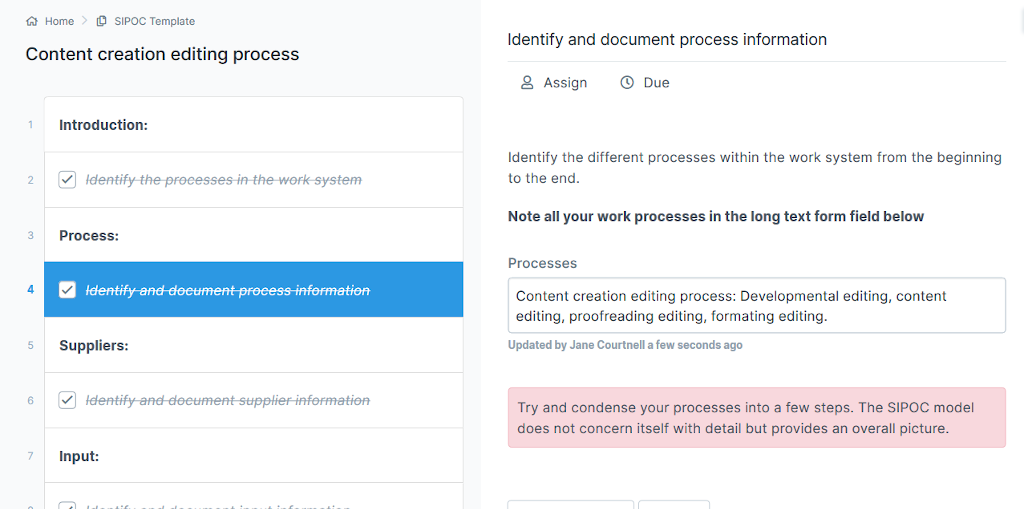 Content creation - document and identify process information