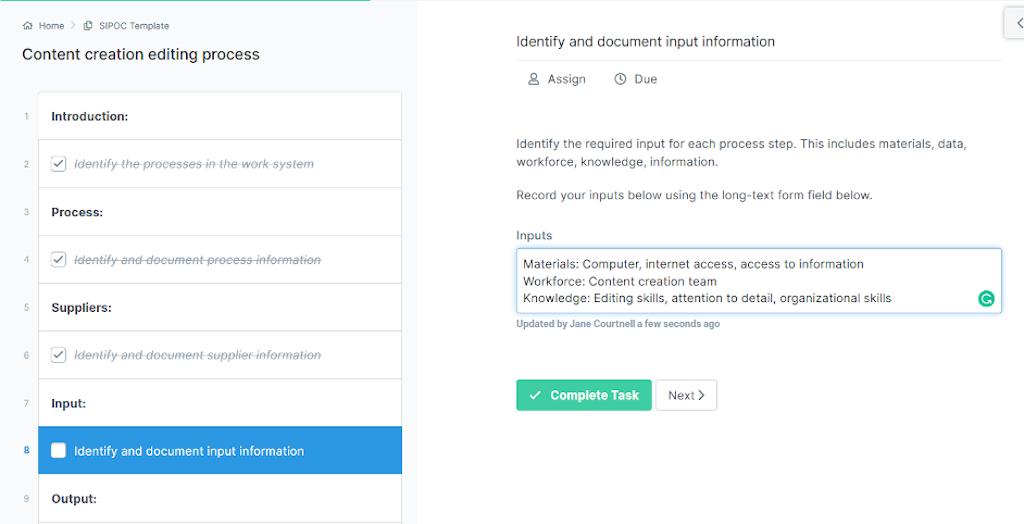 Content creation editing process - input information