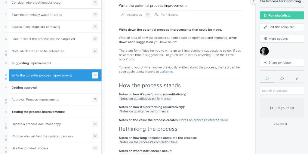 Business process optimization steps