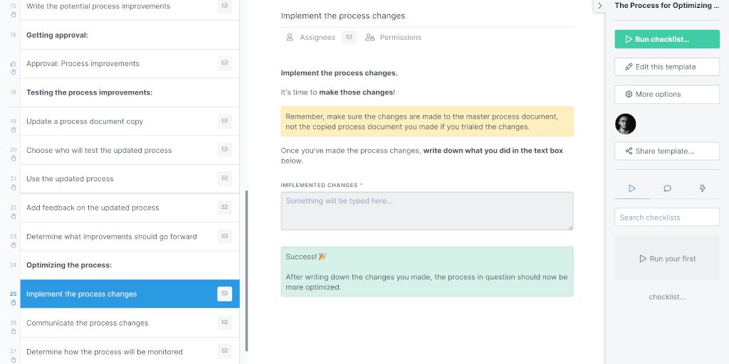 Optimizing a process steps
