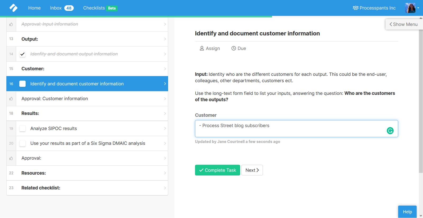 SIPOC - Customer information