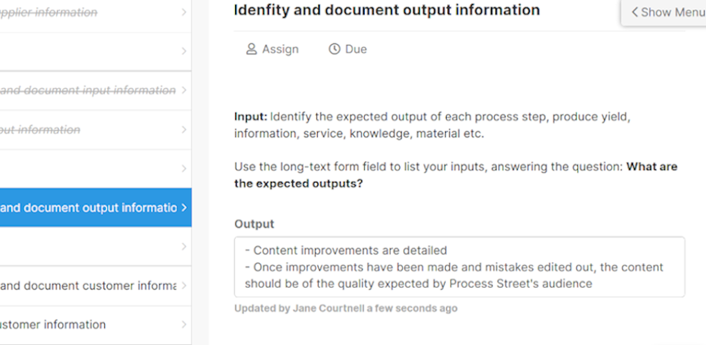 SIPOC - identify and document output information 3