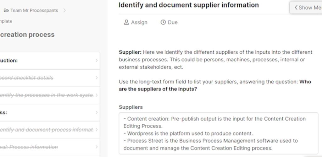 SIPOC - identify and document supplier information