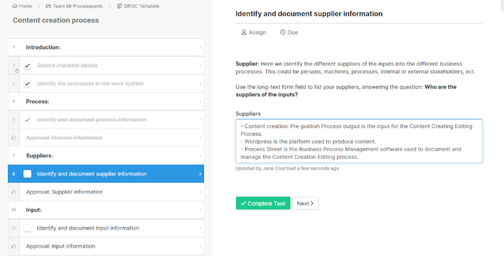 SIPOC - identify and input supplier information