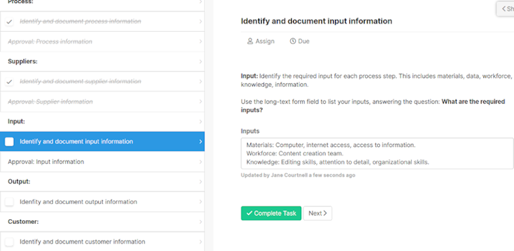 SIPOC - idoentify and document input information
