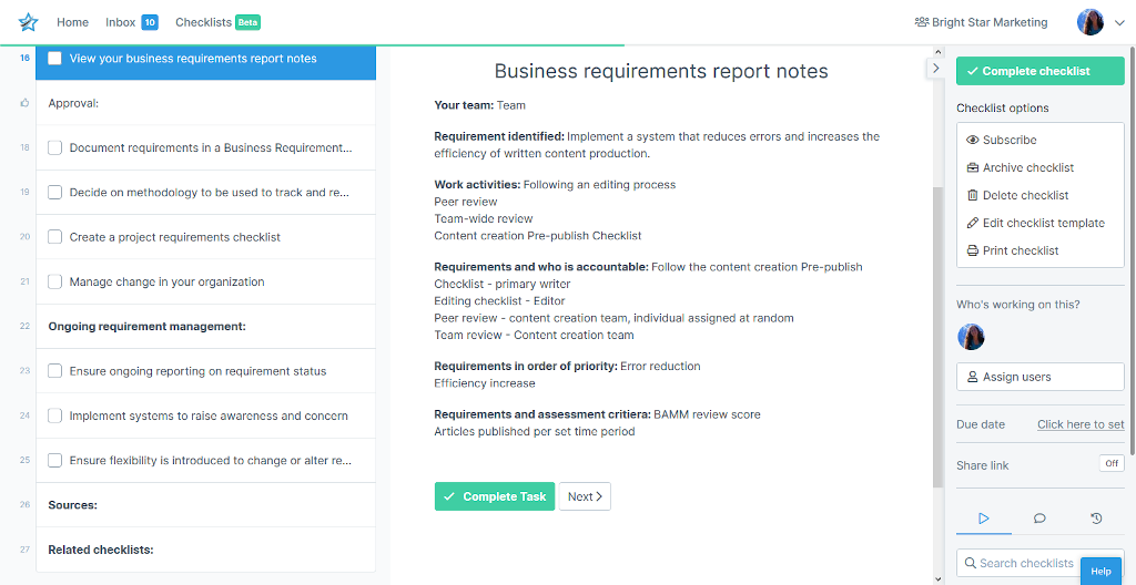 Business requirements report notes
