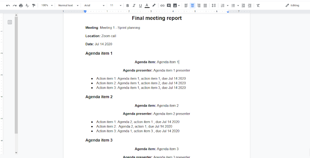 Final meeting report