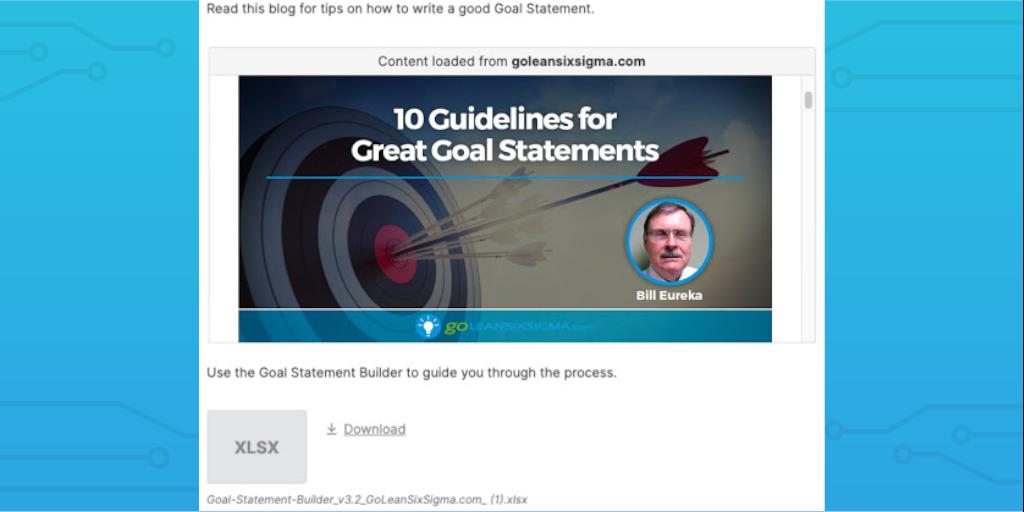 lean six sigma goal statement edited