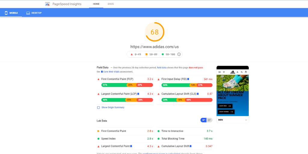Adidas Core Web Vitals assessment via PageSpeed Insights