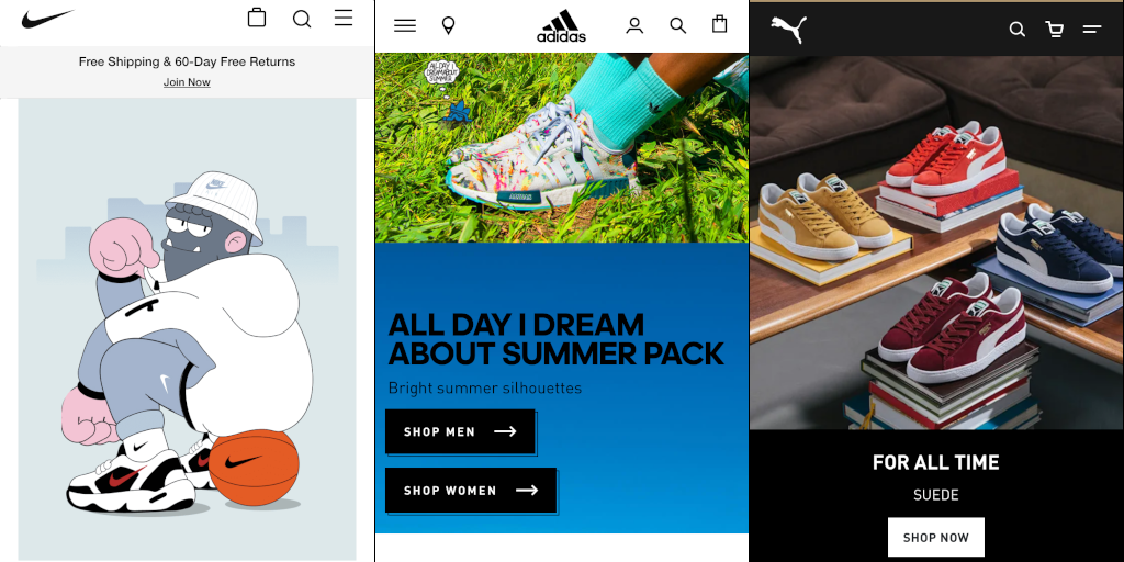 Mobile stores for Nike, Adidas, and Puma